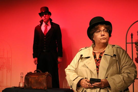 "Hyde 3 (Andrew Falls) watches the investigator (Suzzy Joffein) in TOSAC's production of ""Dr. Jekyll and Mr. Hyde."""