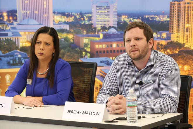 City Commission Seat 3 candidates, Lisa Brown, left, and Jeremy Matlow, speak to the Tallahassee Democrat during an editorial board meeting on Tuesday, Oct. 30, 2018.