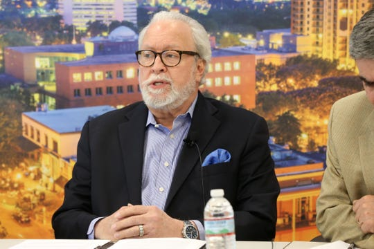 Barney Bishop, lobbyist, debates against Amendment 4, to have voting rights restored for felons after they have completed their sentence, at the editorial board meeting on Tuesday, Oct. 30, 2018.