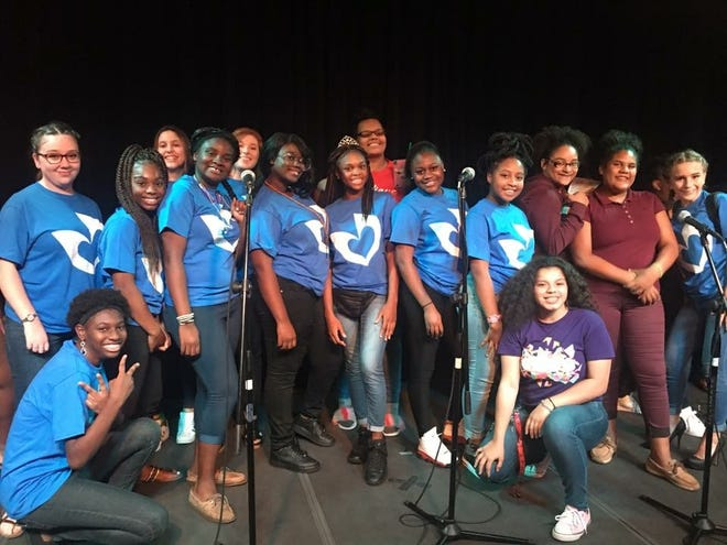 """Members of the PACE Center for Girls - Treasure Coast present """"Hope Flows"""" in 2017 at the Sunrise Theatre in Fort Pierce."""