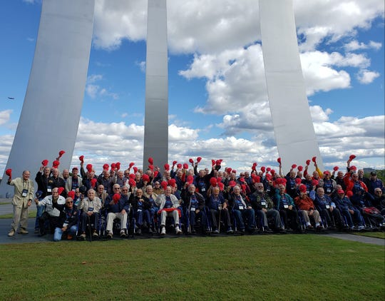 The Southeast Florida Honor Flight trip on Oct. 13 was a milestone of sorts. For the first time, there were more Korean War veterans than World War II, and there also were a substantial number of Vietnam vets. This group photo was taken at the Air Force Memorial.