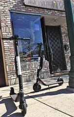 Bird electric scooters were parked outside the DeadBeach Brewery in Downtown El Paso on Oct. 26.