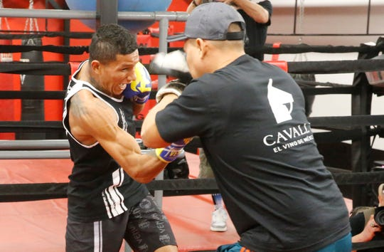 """WBC Super Featherweight Champion Miguel Berchelt trains. He will put his title on the line Saturday night in the Don Haskins Center against challenger Miguel """"Mickey"""" Roman. Fighting in the 130-pound weight class, Berchelt and Roman look to put on a good fight for El Paso boxing fans. The doors will open at 4 p.m., with the first bout scheduled to enter the ring at 4:30 p.m. on an eight-bout card being put on by Top Rank Boxing and ESPN."""