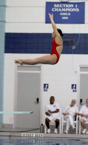Samantha Ho of Scarsdale competes in the Section 1 Diving Championships at Suffern High School Oct. 29, 2018.