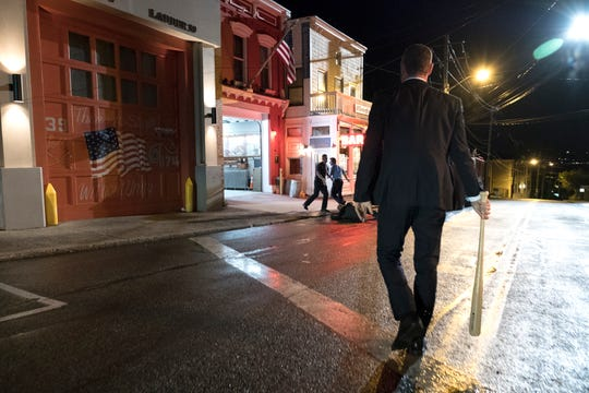 "Liev Schreiber as Ray Donovan in RAY DONOVAN (Season 6, Episode 03, ""He Be Tight. He Be Mean.""). The scene shows the fire house on Nyack's Main Street and OD's restaurant."