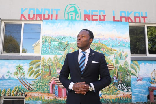 """Eudson Francois is photographed in front of Konbit Neg Lakay Community Center in Spring Valley Oct. 30, 2018. """"I am seeing changes,"""" Francois said. """"The community is making an effort to become one. Not just Haitians. We need to become one with African-Americans and Hispanics in the village. Then we will stand tall."""""""