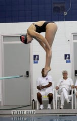 Katie Laverty of Rye competes in the Section 1 Diving Championships at Suffern High School Oct. 29, 2018.