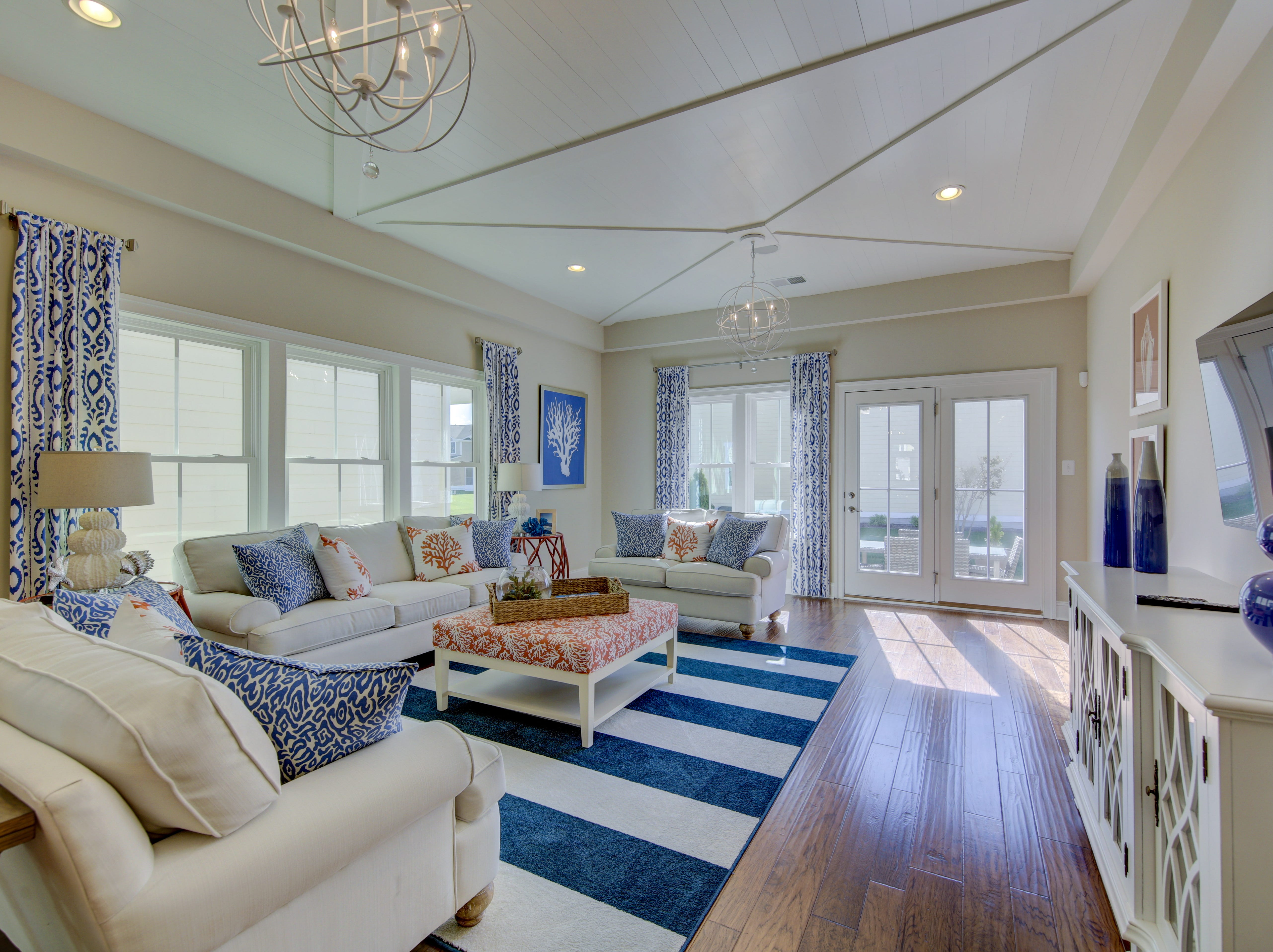 The model home in the Overlook in Selbyville  has an open concept living area.
