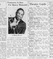 A notice of a memorial for jazz musician Clifford Brown, which appeared in the Saturday, Sept. 15, 1956 Journal-Every Evening.