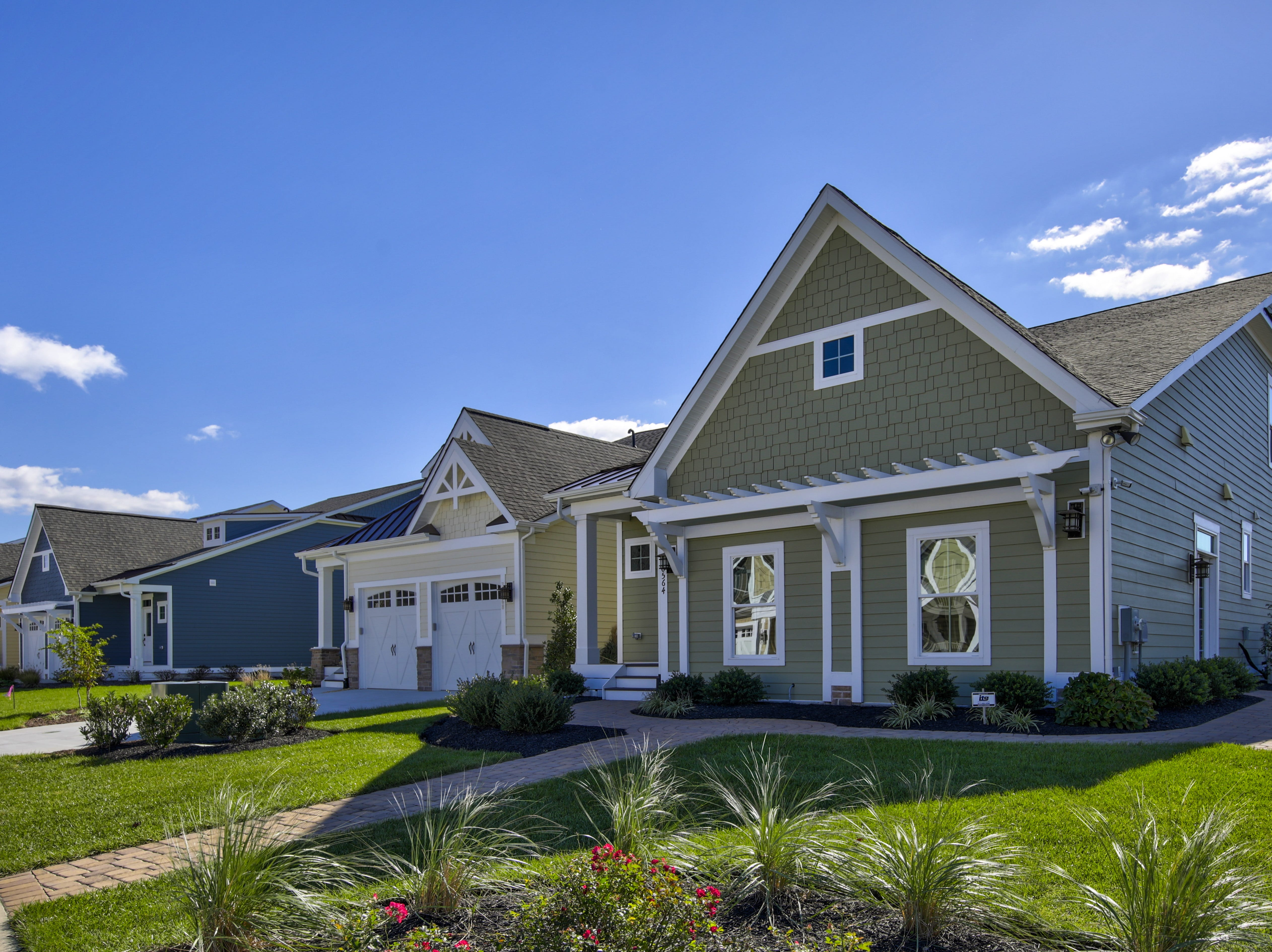 The model home at The Overlook in Selbyville has a two-car garage.