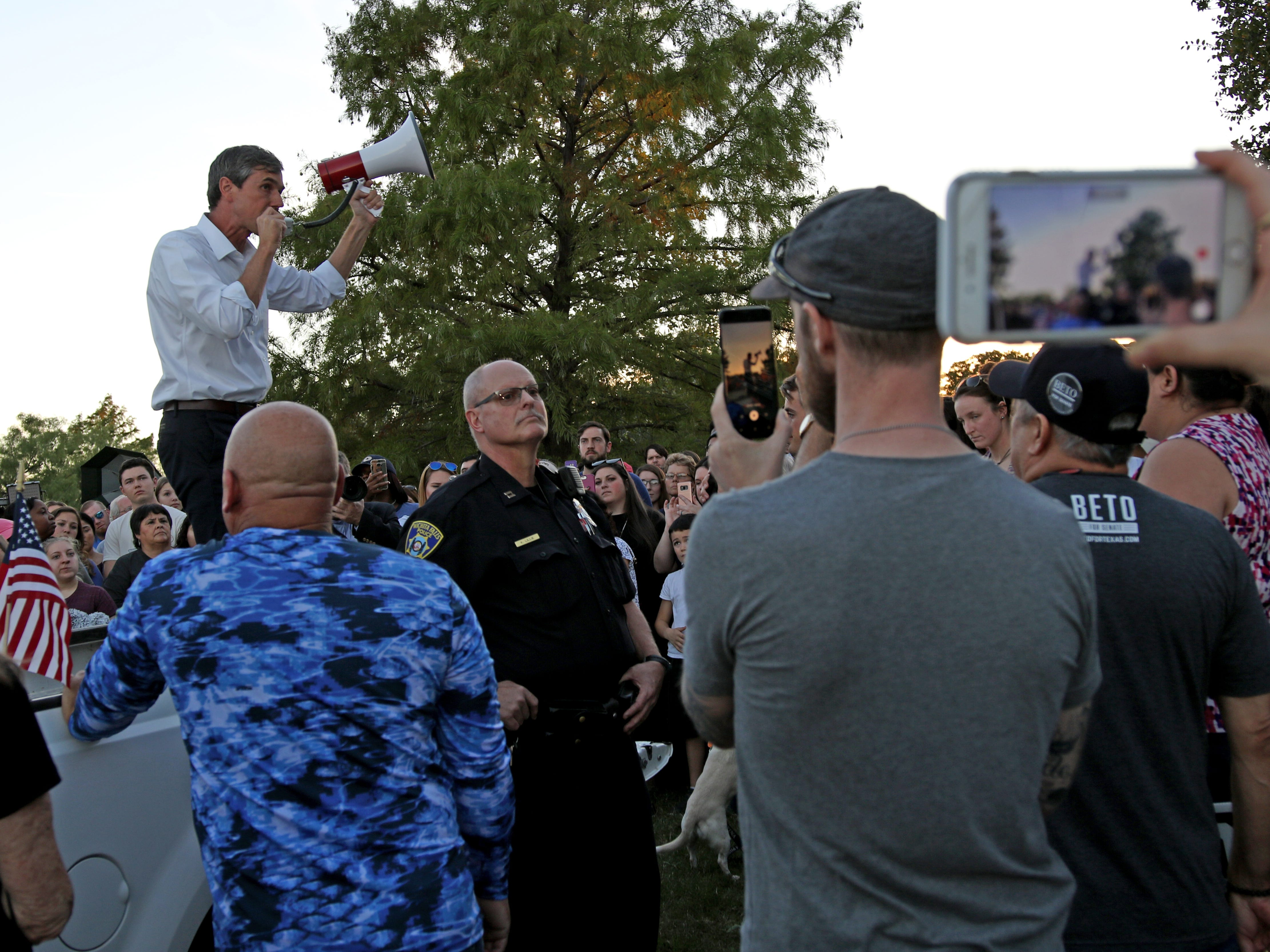 Rep. Beto O'Rourke gives a speech from the bed of a pickup Monday, Oct. 29, 2018, at Kiwanis Park in Wichita Falls.