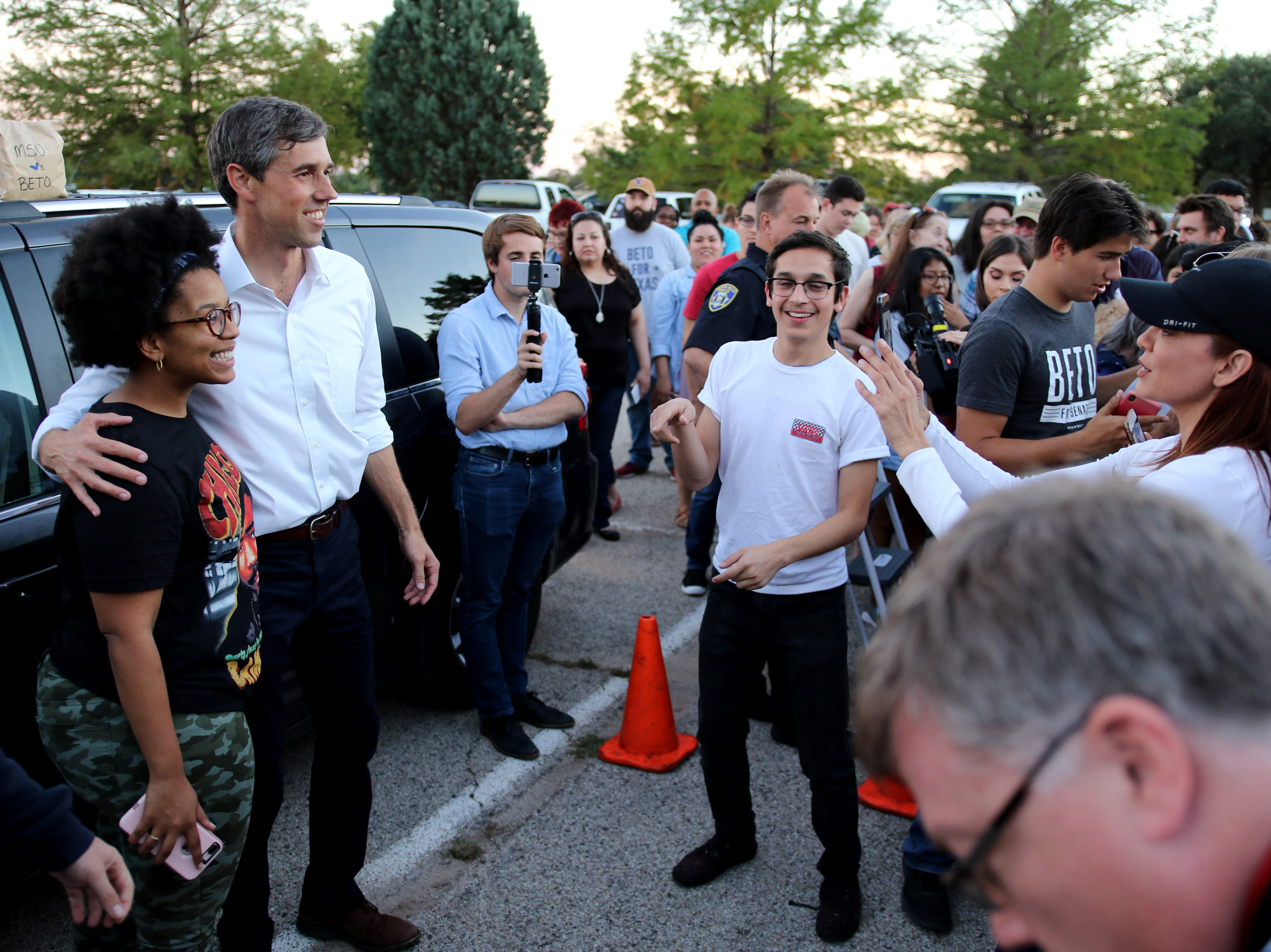 After Rep. Beto O'Rourke gives his speech almost the entire crowd rushed to get a picture with him Monday, Oct. 29, 2018, at Kiwanis Park in Wichita Falls.