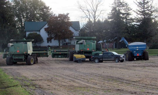 Soybean harvest is underway at Sunnybook Farm thanks to the Maass family. Here machines are getting ready for a second day of work.