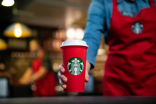 For the first time, Starbucks has a plastic holiday cup.