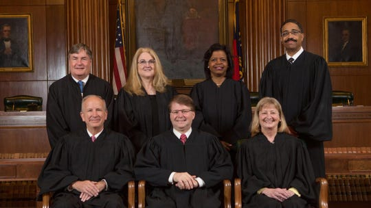 The seven justices of the North Carolina Supreme Court.