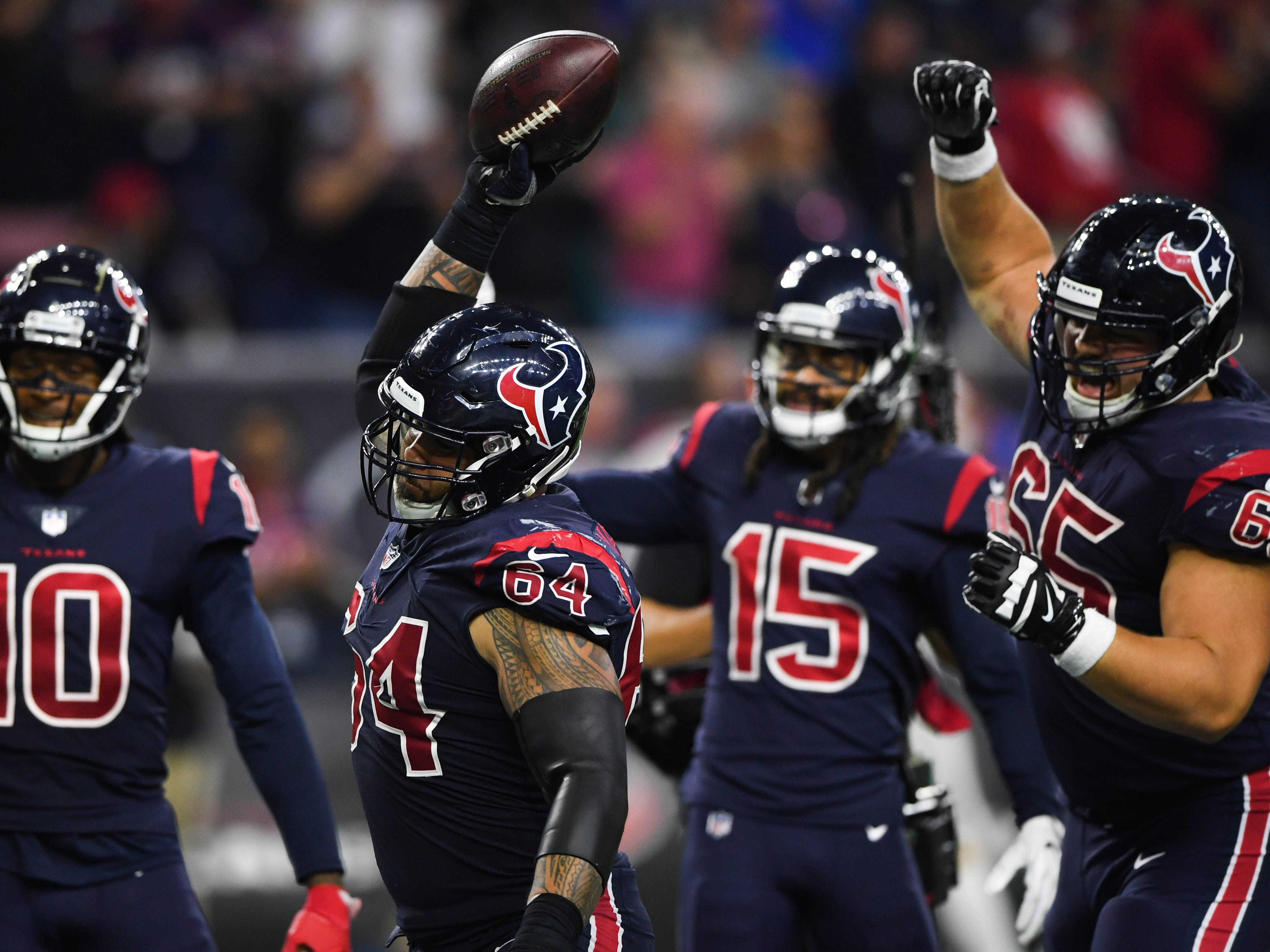 17. Texans (17): Trick — maybe? Buy a team that's won five straight even if none of its victims has winning record? Houston scheduled to face one plus-.500 club in second half.
