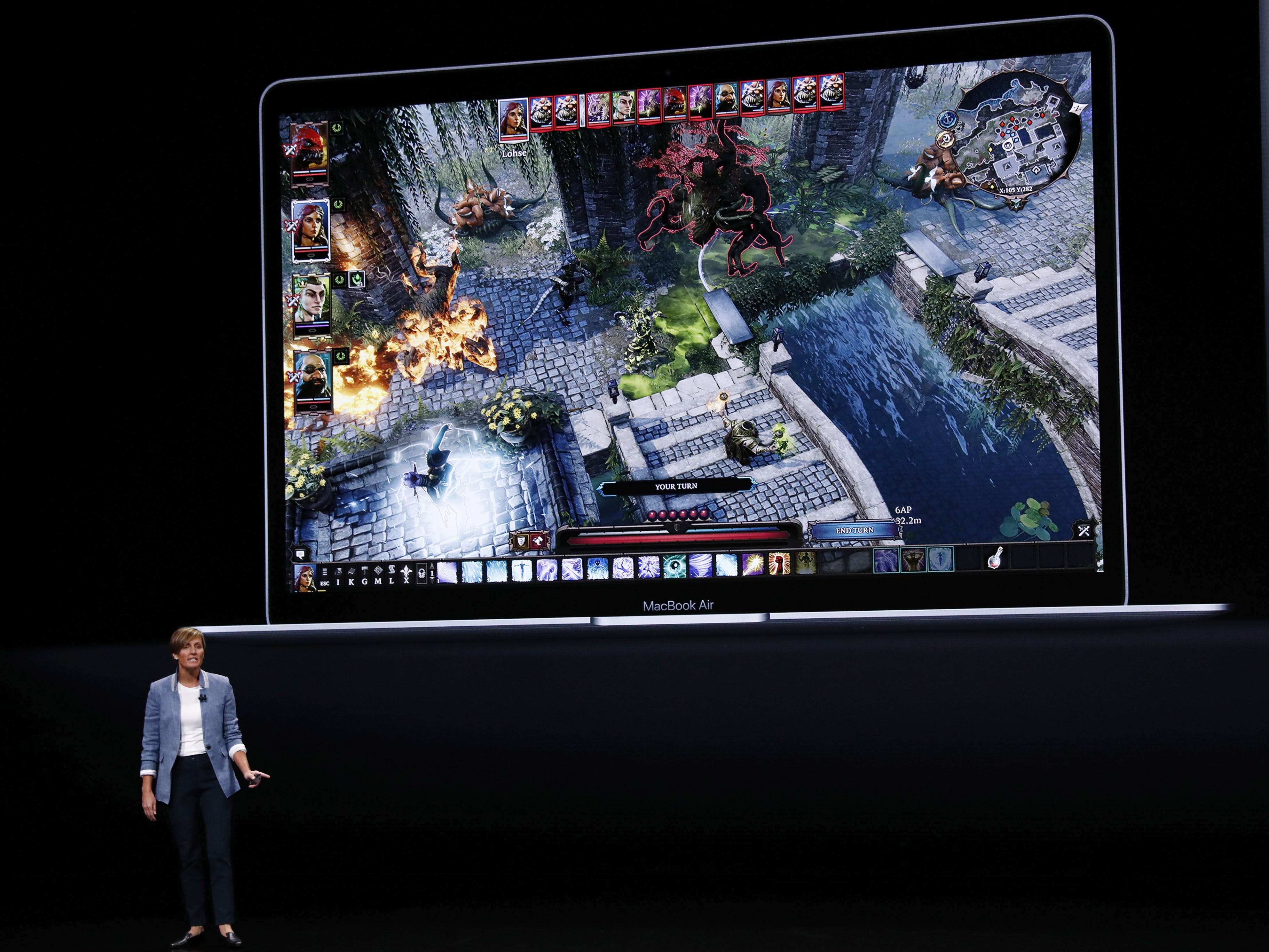 Apple Vice President, Hardware Engineering Laura Legros speaks about the new MacBook Air during an Apple special event at the Howard Gilman Opera House at the Brooklyn Academy of Music before the start of an Apple event in New York Tuesday, Oct. 30, 2018.