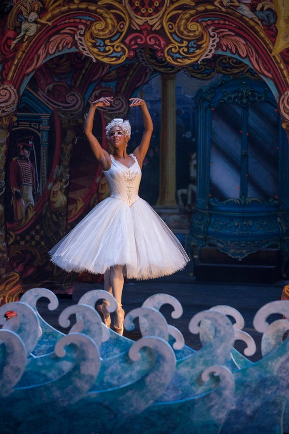 "Misty Copeland struts her stuff as the Ballerina Princess in ""The Nutcracker and the Four Realms."""