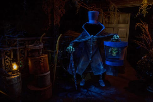 The Hatbox Ghost at the Haunted Mansion at Disneyland. The attraction is allegedly the most popular place at the park for guests to (secretly) spread ashes of dead loved ones.