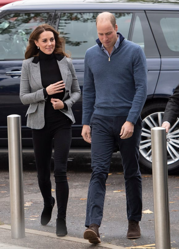 Duchess Kate and Prince William arrive to visit Basildon Sporting Centre in Basildon, Essex, Britain on Oct. 30, 2018.