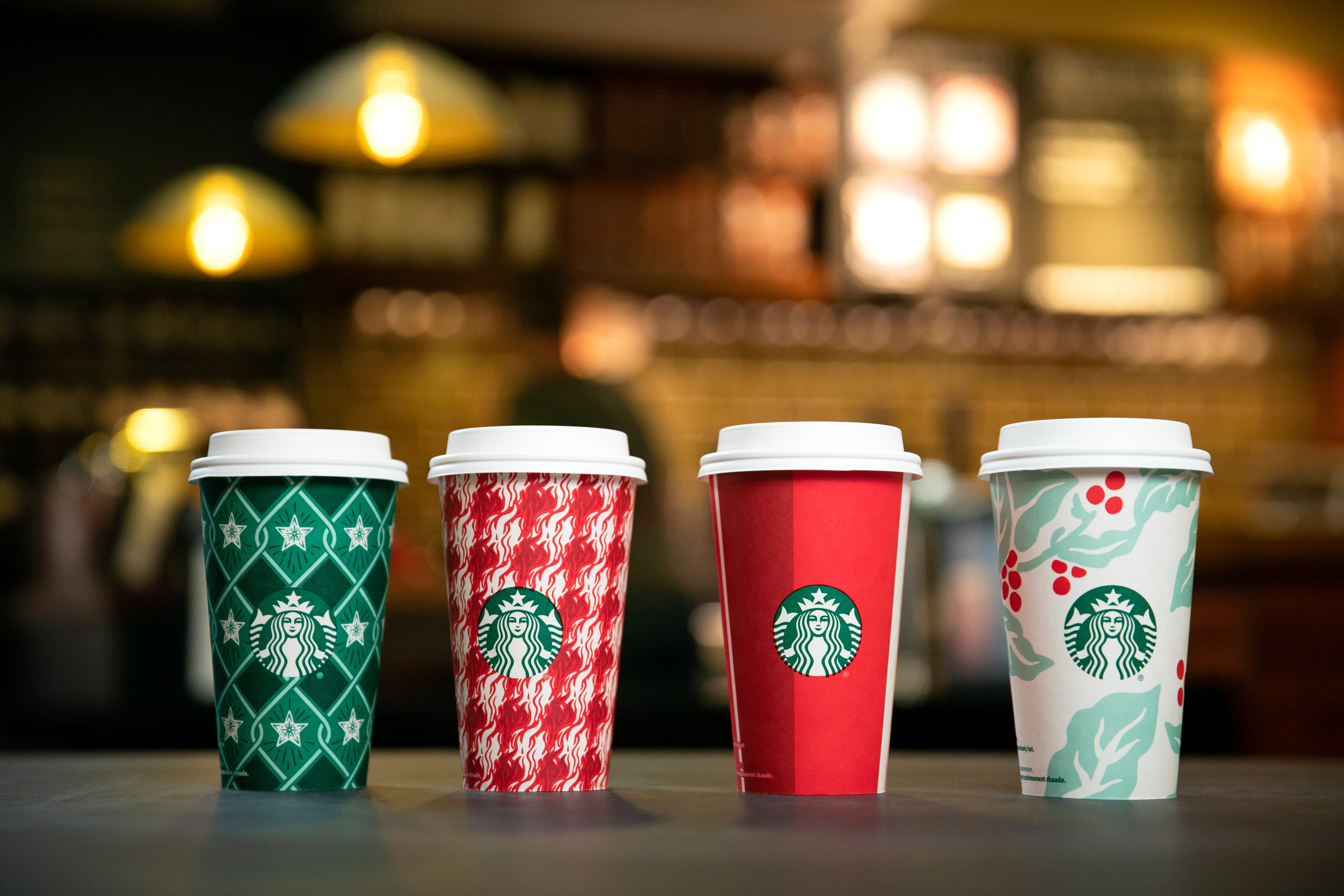 Starbucks Holiday Cups Reusable Red Cup Drinks Pastries