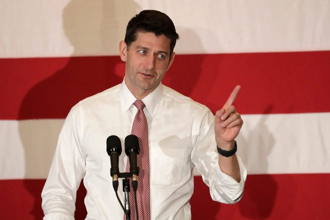 "In this Oct. 17, 2018, file photo, House Speaker Paul Ryan speaks during a campaign event for Jay Webber, Republican candidate for Congress in the 11th District of New Jersey. Ryan said Tuesday that President Trump could not end ""birth right citizenship"" by an executive roder."