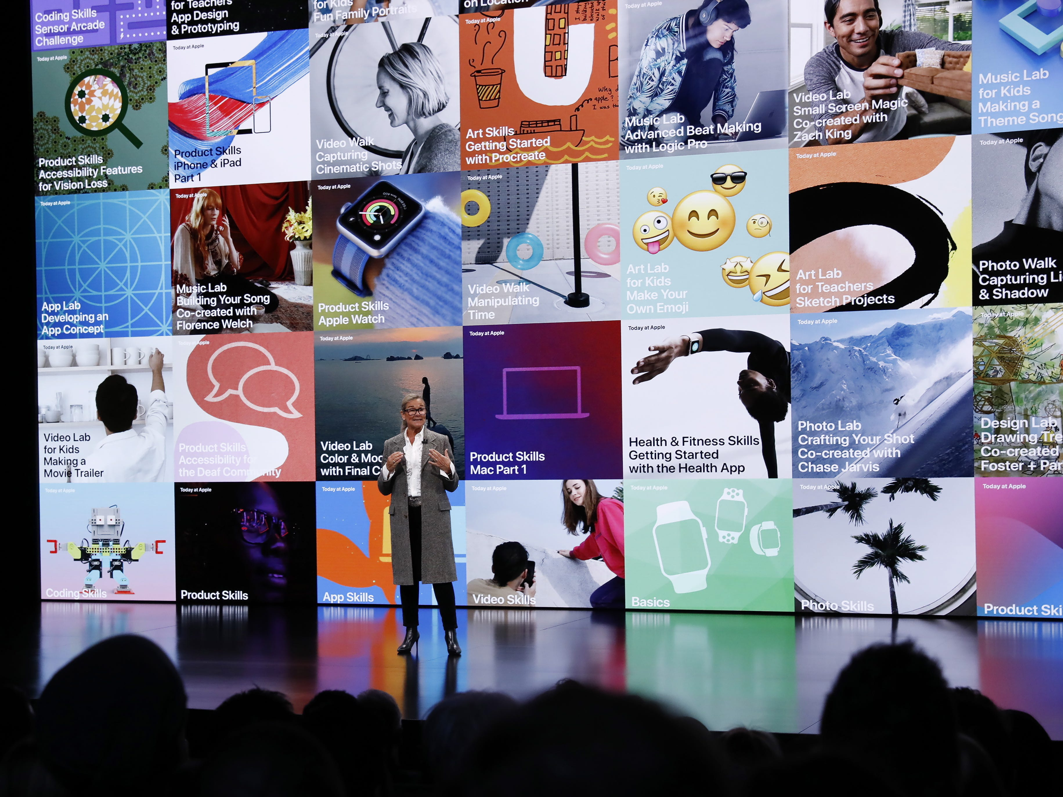 Apple Senior Vice President Angela Ahrendts speaks during an Apple special event at the Howard Gilman Opera House at the Brooklyn Academy of Music before the start of an Apple event in New York, Tuesday, Oct. 30, 2018.