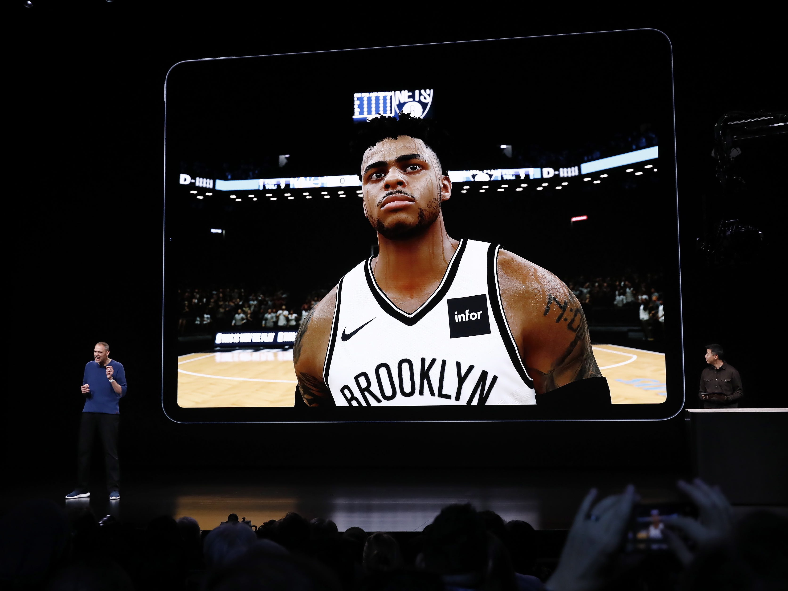President of 2K Sports, Greg Thomas, speaks about the new iPad Pro during an Apple special event at the Howard Gilman Opera House at the Brooklyn Academy of Music before the start of an Apple event in New York, Tuesday, Oct. 30, 2018.