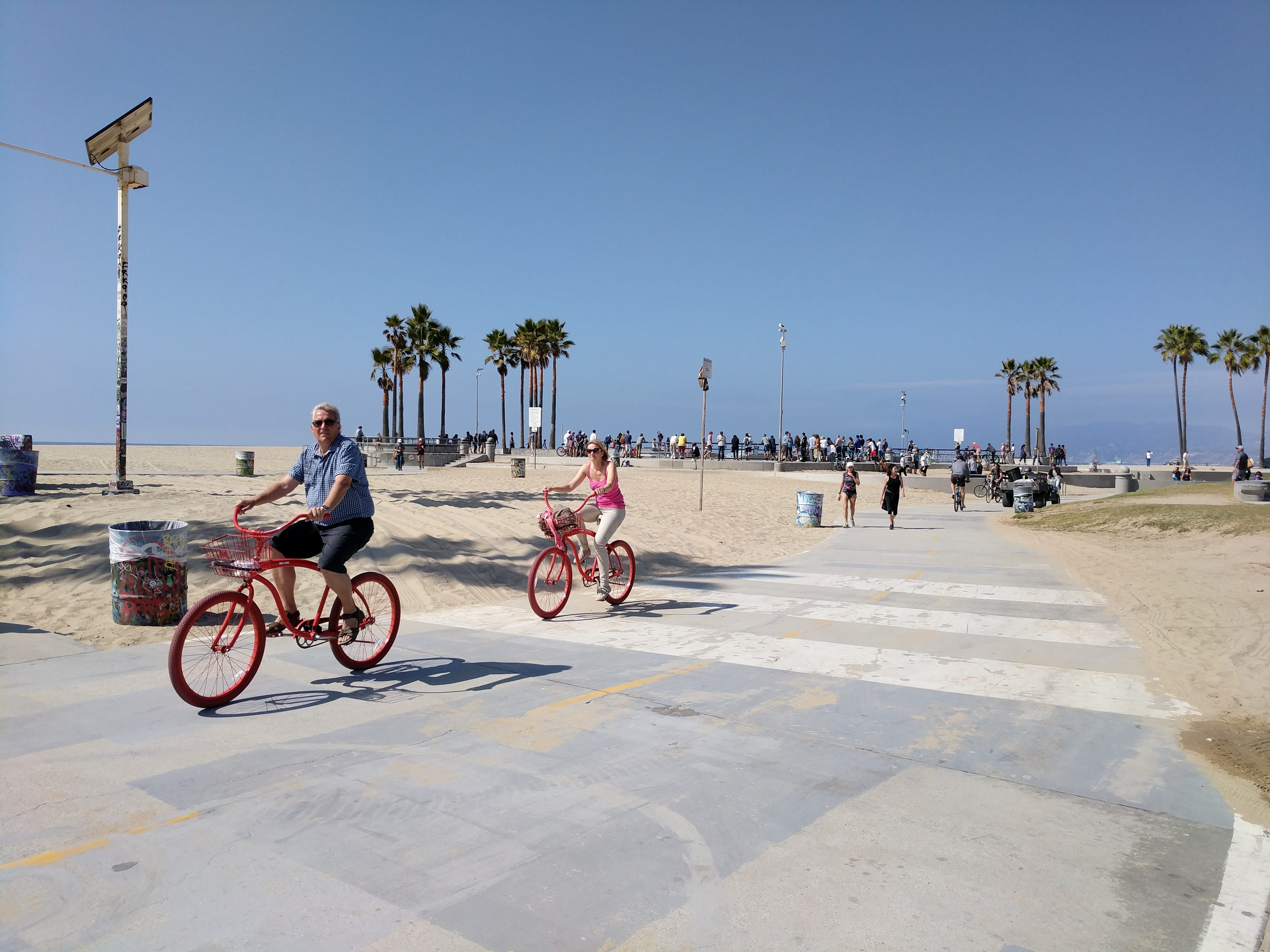 Cycling on the bikeway in Venice Beach.