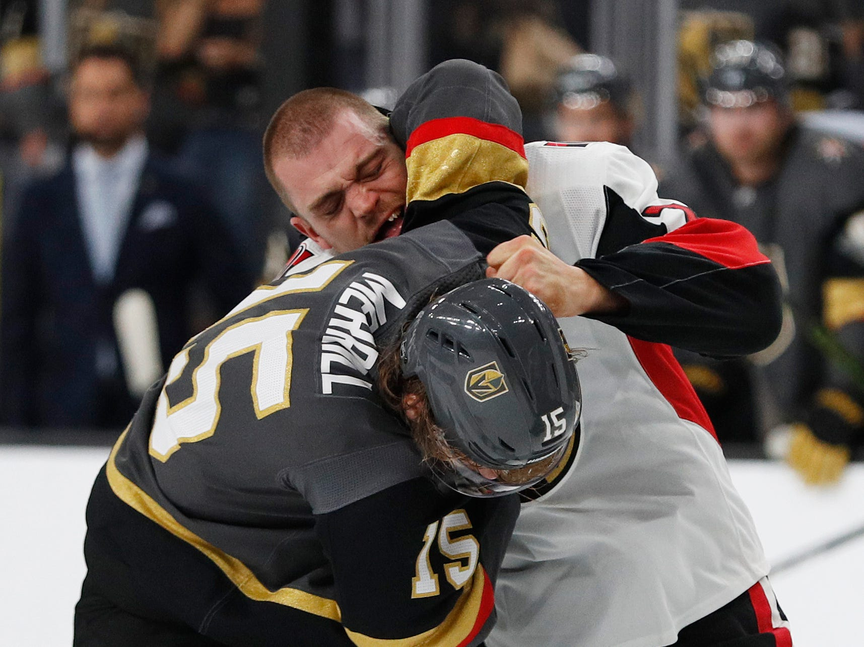 Mark Borowiecki (right) was suspended one game for an elbowing penalty against the Bruins on Oct. 23 and three games for an illegal check to the head against the Vegas Golden Knights on Oct. 28. Combined pay lost: $50,354.06.