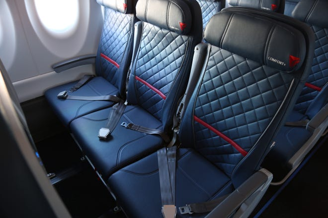 Delta Air Lines' new A220-100 planes have 109 seats and a state-of-the-art interior featuring seatback screens and the widest seats of any plane this size. The A220's main cabin seats measure 18.6 inches in width and have a 4-inch recline.
