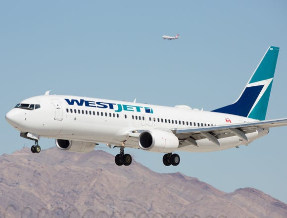 A Westjet Boeing 737 readies for landing at Las Vegas McCarran International Airport on Oct. 2, 2016.