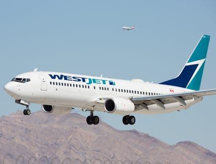 A Westjet Boeing 737 readies for landing at Las Vegas McCarran International Airport on Oct. 2, 2016.