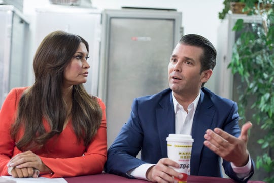 Donald Trump Jr. and Kimberly Guilfoyle give an exclusive interview to USA TODAY in Inwood, W.Va., on the campaign trail for Patrick Morrisey, a candidate for U.S. Senate.