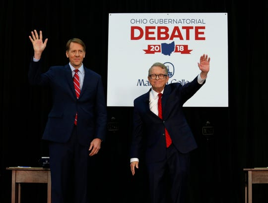 Democrat Richard Cordray, left, and Republican Mike DeWine are running for Ohio governor.