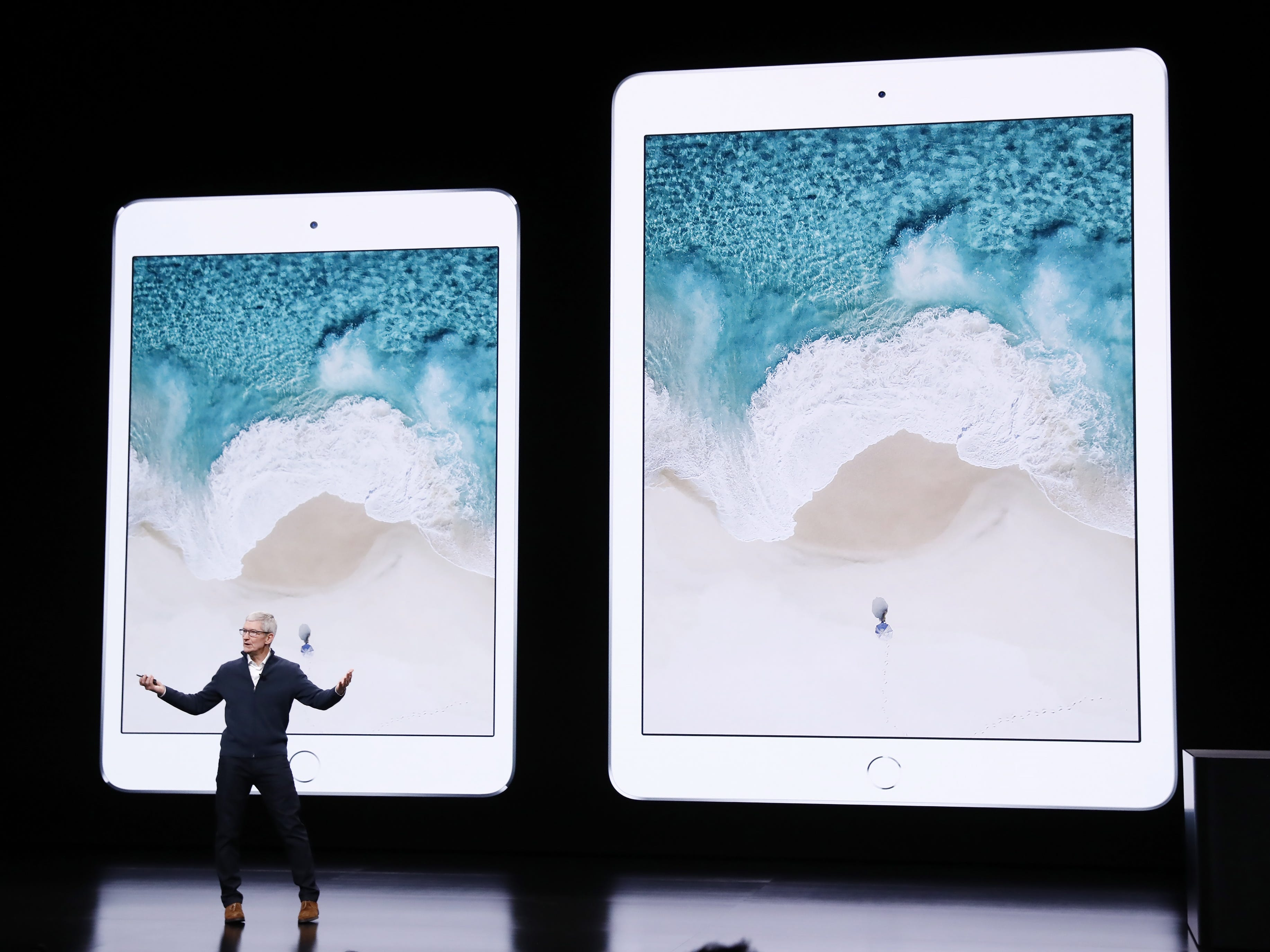 Apple CEO Tim Cook speaks about the iPad during an Apple special event at the Howard Gilman Opera House at the Brooklyn Academy of Music before the start of an Apple event in New York, Tuesday, Oct. 30, 2018.