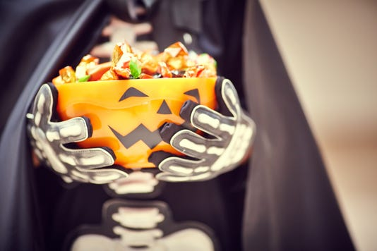 Stage Costume And Halloween Bowl With Trick Or Treat Candies