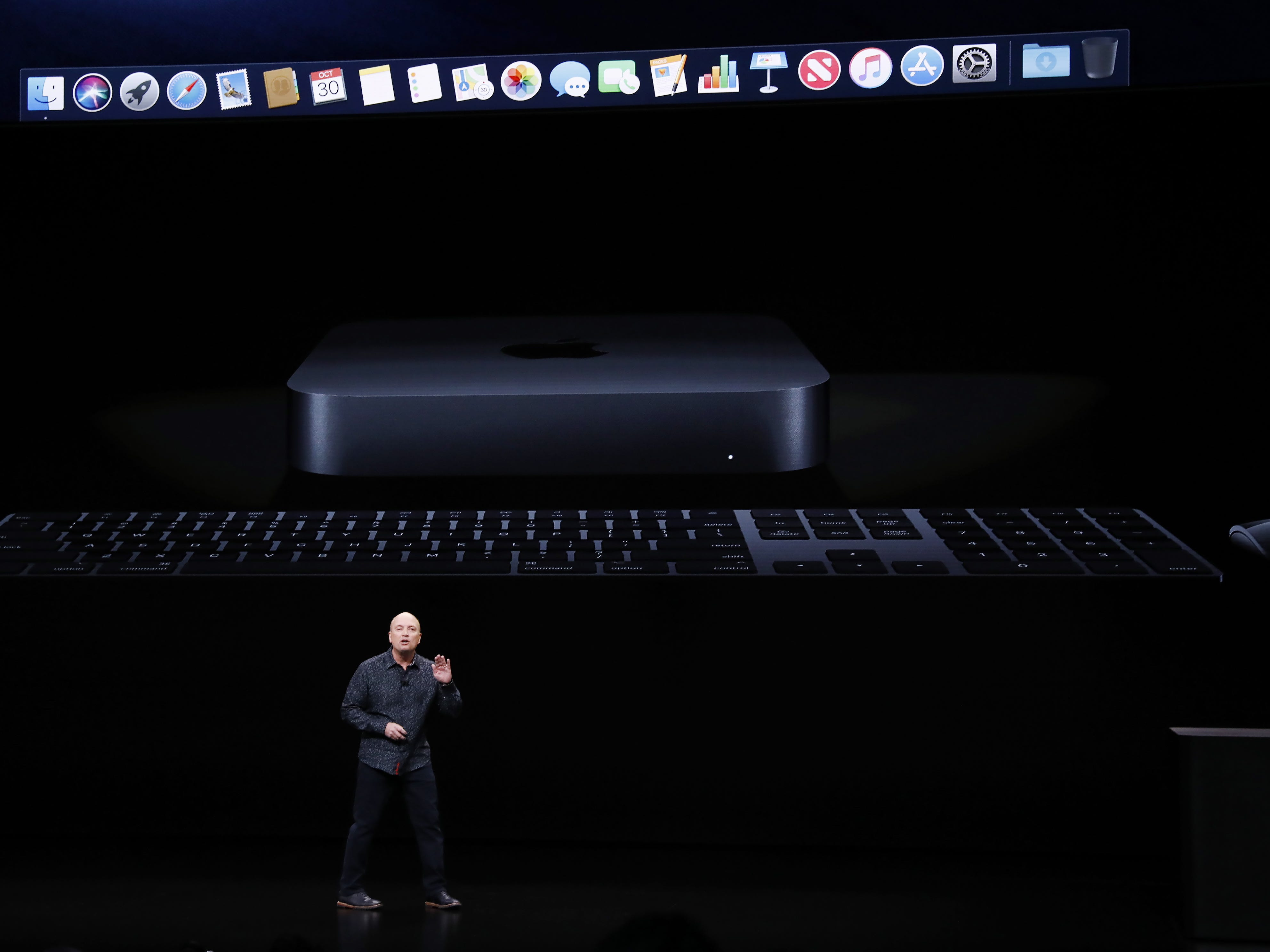 Apple Senior Director of Mac Hardware Product Marketing, Tom Boger, speaks about the new Mac mini during an Apple special event at the Howard Gilman Opera House at the Brooklyn Academy of Music before the start of an Apple event in New York, Tuesday, Oct. 30, 2018.