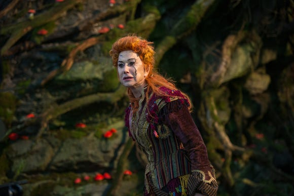 """Mother Ginger (Helen Mirren) is marked by cracks in her face and an antagonistic mindset in 'The Nutcracker and the Four Realms."""""""