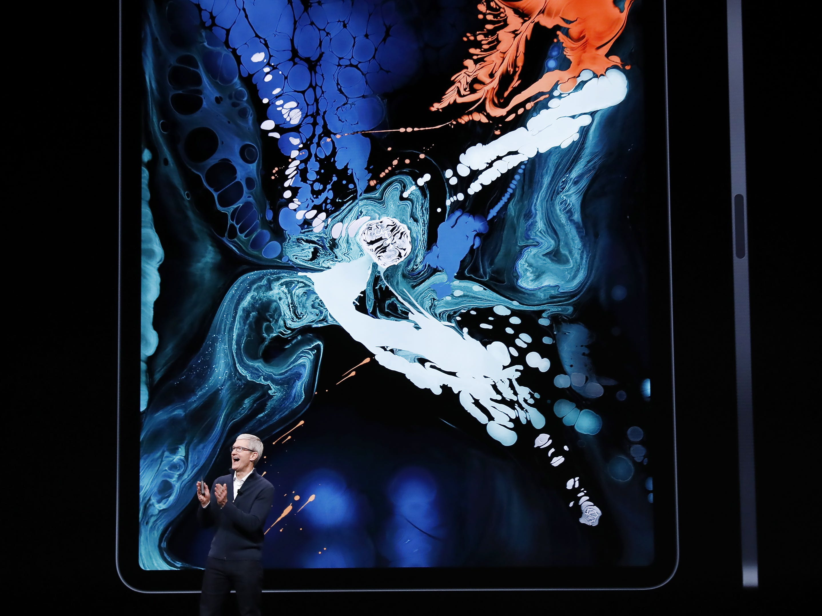 Apple CEO Tim Cook speaks about the new iPad Pro during an Apple special event at the Howard Gilman Opera House at the Brooklyn Academy of Music before the start of an Apple event in New York, Tuesday, Oct. 30, 2018.