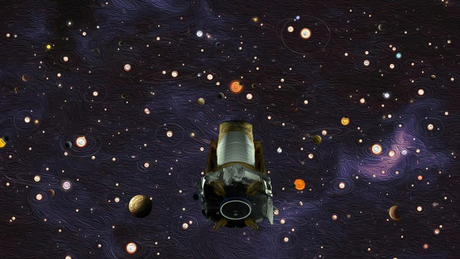 An artist's conception of the Kepler Space Telescope. After nine years in deep space collecting data that revealed our night sky to be filled with billions of hidden planets, the telescope has run out of fuel needed for further science operations.