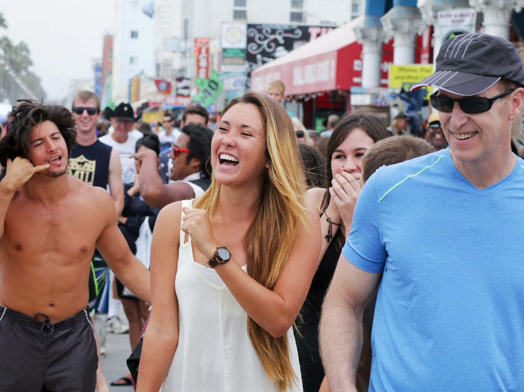 Visitors enjoy the show in Venice Beach.