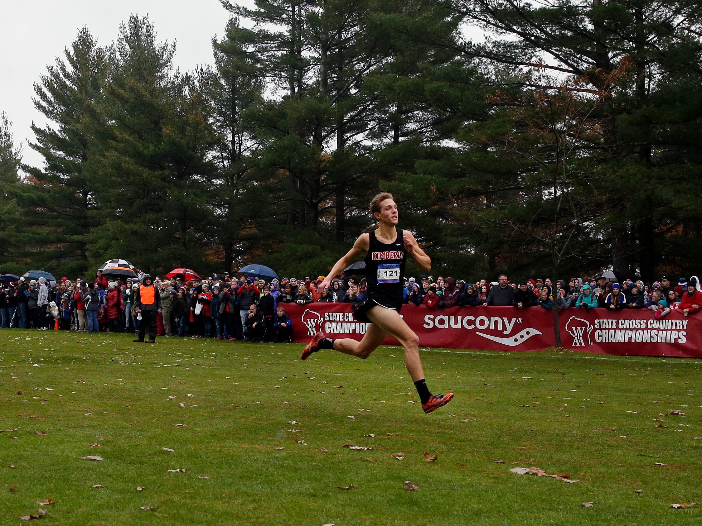 Rowen Ellenberg of Kimberly finishes at the 2018 WIAA Cross Country State Meet Saturday, October 27, 2018, at the Ridges Golf Course in Wisconsin Rapids, Wis.Ron Page/USA TODAY NETWORK-Wisconsin