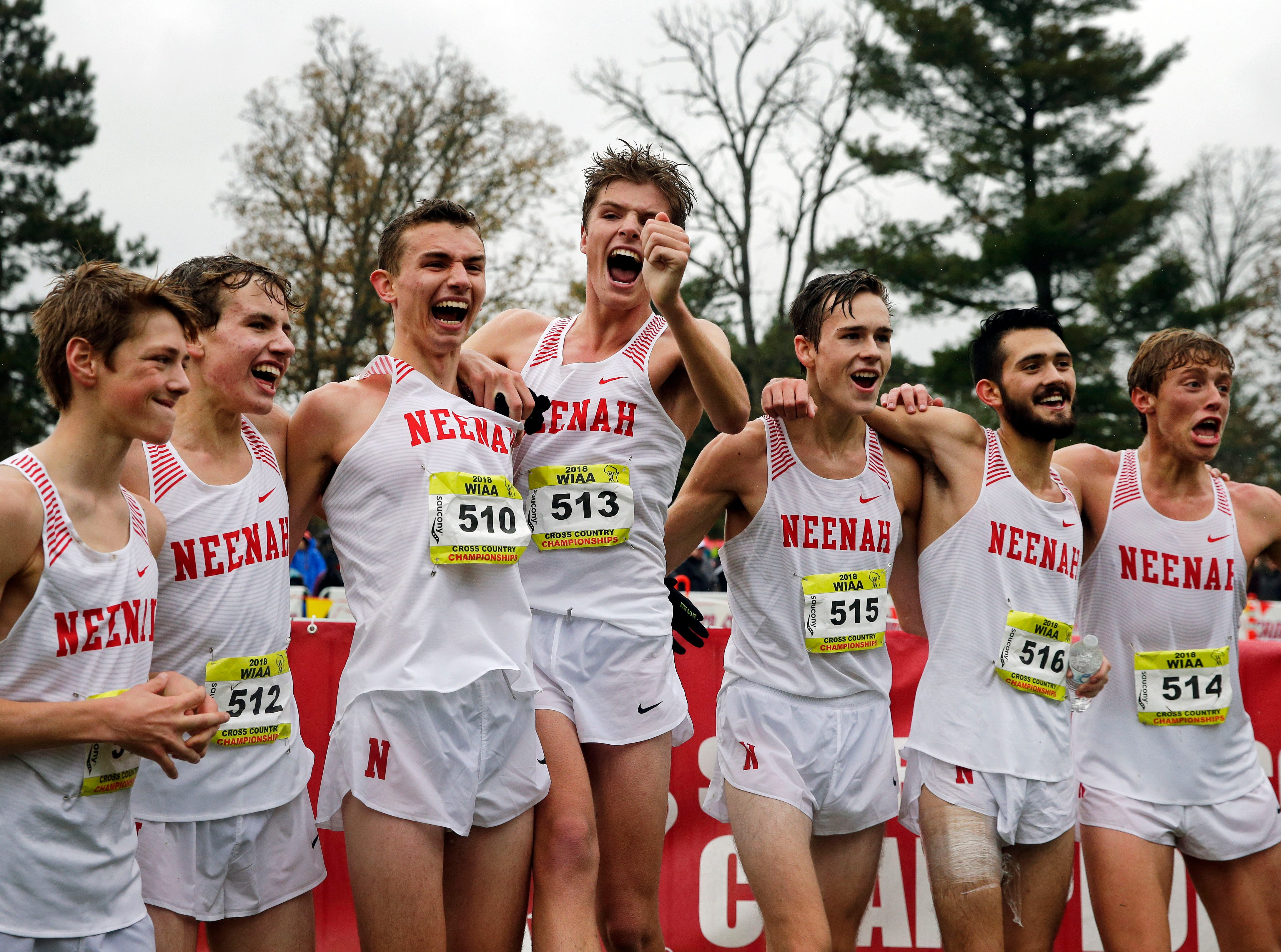 The Neenah team celebrates at the 2018 WIAA Cross Country State Meet Saturday, October 27, 2018, at the Ridges Golf Course in Wisconsin Rapids, Wis.Ron Page/USA TODAY NETWORK-Wisconsin
