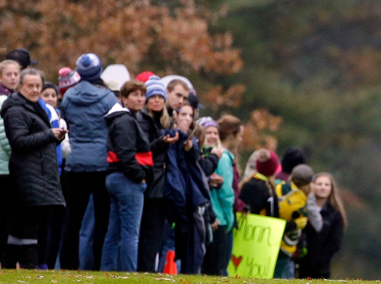 Genevieve Nashold of Madison West nears the finish as the 2018 WIAA Cross Country State Meet takes place Saturday, October 27, 2018, at the Ridges Golf Course in Wisconsin Rapids, Wis.