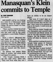Asbury Park Press clipping from 1999 on Donny Klein's decision to join Temple University