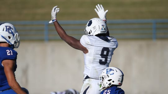 Monmouth receiver Reggie White, Jr. after one of his two touchdown catches last Saturday in the Hawks' win over Presbyterian.