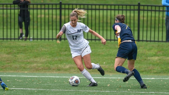 Monmouth's Madie Gibson (17) was the MAAC Offensive Player of the Year, with the Hawks riding a nine-game winning streak heading into this week's MAAC Championship.