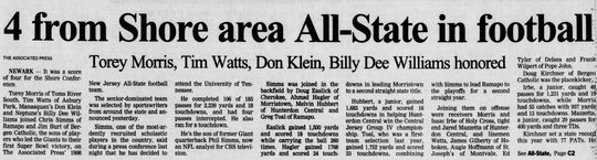 Asbury Park Press story on Klein's All-State football selection in 1998.