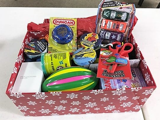 A typical Operation Christmas Child box